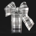 White & Silver Woven Plaid Holiday Ribbon Wire Edge