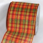 "4"" Orange/Green/Red Tartan Plaid Ribbon - Wire Edge"