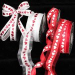 Foil Hearts Ribbon - Wire Edge