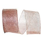 Rose Gold Micro Mesh Ribbon - Wire Edge