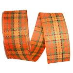 Autumn Plaid Stitch Ribbon - Wire Edge