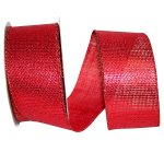 Red Burlap Metallic Ribbon - Wire Edge