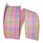 2 1/2″ Pink Springtime Plaid Ribbon - Wire Edge