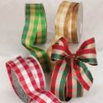 "1 1/2"" Wired Holiday Check Ribbon - Wire Edge"