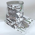 "6"" Silver Square Sequence Fab Ribbon - Wire Edge"