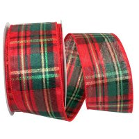 "2 1/2"" Plaid Sparkle Holiday Ribbon Wire Edge"