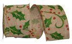 "2 1/2"" Holly Linen Ribbon - Wire Edge"