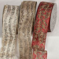 "2 1/2"" Wired Glitter Music Ribbon"