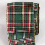 "4"" Green Tartan Tradition Ribbon Wire Edge"