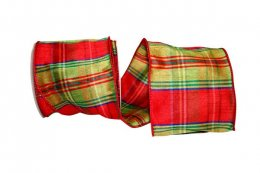 "4"" Plaid Nutcracker Dupioni Ribbon - Wire Edge"