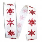White Linen Snowflakes Ribbon - Wire Edge