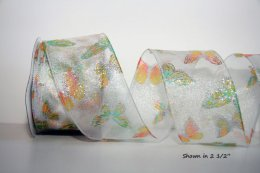 Glitzy Butterfly - Sheer Ribbon - Wired Edge
