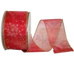 "2 1/2"" Sheer Snowflake Value Ribbon -Wire Edge"