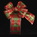 Red & Green Woven Plaid Holiday Ribbon Wire Edge