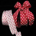 "1 1/2"" Taffeta Small Hearts Ribbon - Wire Edge"