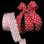 Taffeta Small Hearts Ribbon Wire Edge