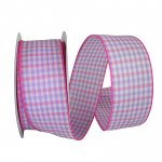 "2 1/2"" Gingham Check Bright Value Ribbon Wire Edge"