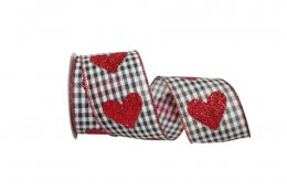 "2 1/2"" Heart Glitter Gingham Check Ribbon - Wire Edge"