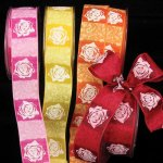 "1 1/2"" Taffeta Rose Print Ribbon - Wire Edge"