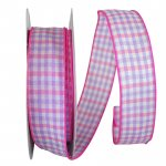"1 1/2"" Gingham Check Bright Value Ribbon - Wire Edge"