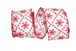 "2 1/2"" Snowflakes Embroidery Ribbon - Wire Edge"