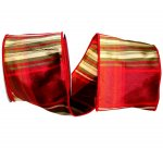 Plaid Woodlands Dupioni Ribbon - Wire Edge
