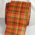 "4"" Orange Tartan Tradition Ribbon - Wire Edge"