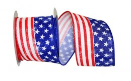 "2 1/2"" Patriotic Flag Ribbon Wire Edge"