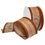 "2 1/2"" Christmas Linen Ribbon Wire Edge"