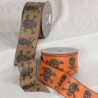 "2 1/2"" Wired Skulls Ribbon - Wire Edge"