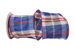 Plaid Americana Dupioni Grand Ribbon - Wire Edge