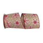 Snowflake Glitter Outline Linen Ribbon Wire Edge