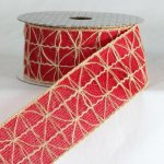 "2 1/4"" Red Jute Combo Ribbon - Wire Edge"