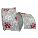 Fashion Snowflake Linen Ribbon Wire Edge