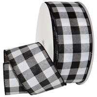 Cambridge Black/White Check Ribbon - Wire Edge