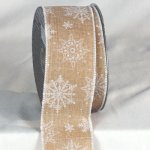 "2 1/2"" Holiday Snow Flake Ribbon Wire Edge"