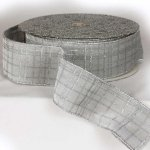 Silver Glitter Velvet Ribbon Wired Edge
