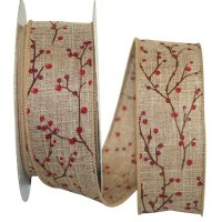 Berry Branch Natural Ribbon - Wire Edge