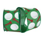 "2 1/2"" Golf Balls & Tees Ribbon - Wire Edge"