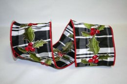 "4"" Plaid Holly Jewel Ribbon - Wire Edge"
