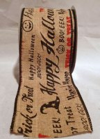 "2 1/2"" Haunted Natural Ribbon -Wired (#90572W)"