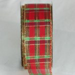 "2"" Metallic Red Tartan Plaid Ribbon - WE (34102-156)"