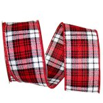 Cabin Natural Woolen Plaid Ribbon - Wire Edge