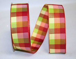 "1 1/2"" Fashion Check 3 Ribbon - Wire Edge"
