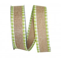 "1 1/2"" Linen Checkered Edge Ribbon - Wire Edge"