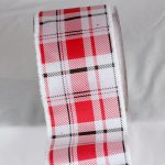 "4"" Red & White Plaid Ribbon - Wire Edge"
