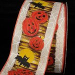 Pumpkin & Bat Ribbon - Wired (17362-156)