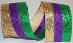 "2 1/2"" MARDI GRAS GLITTER STRIPE - WE (#92750W)"