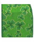 St Patricks Day Ribbon - Falling Clover - WE (#97850W)
