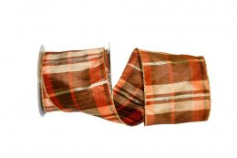 Plaid Mary Dupioni Metallic Ribbon - Wire Edge